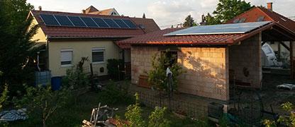18 db Bauer panel, 1 db Solaredge inverterrel és panelenkénti teljesítmény optimalizálással.